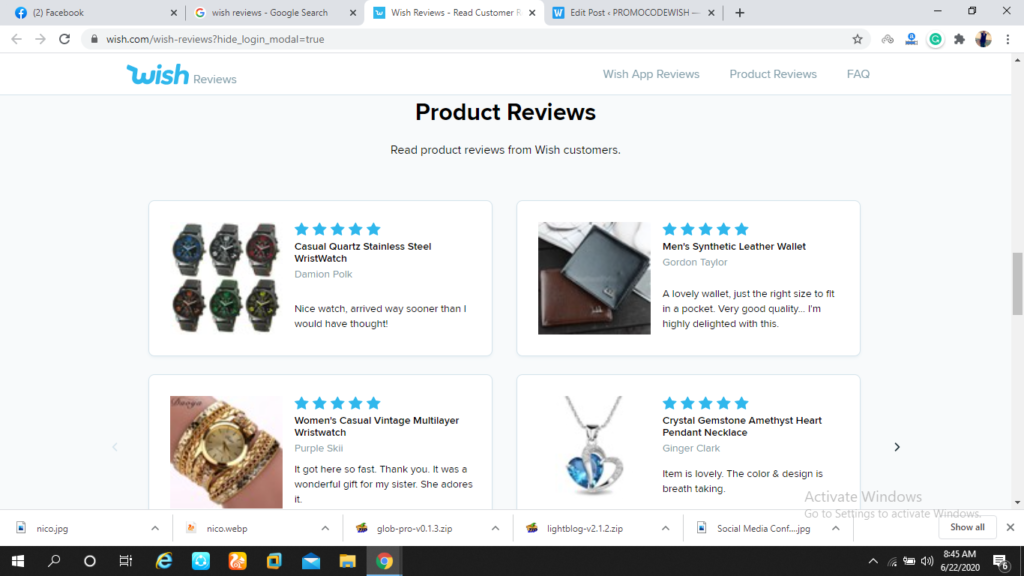 Wish Product Reviews