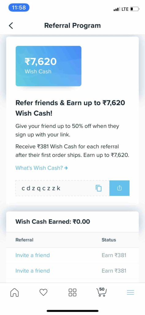 Wish Refer and Earn